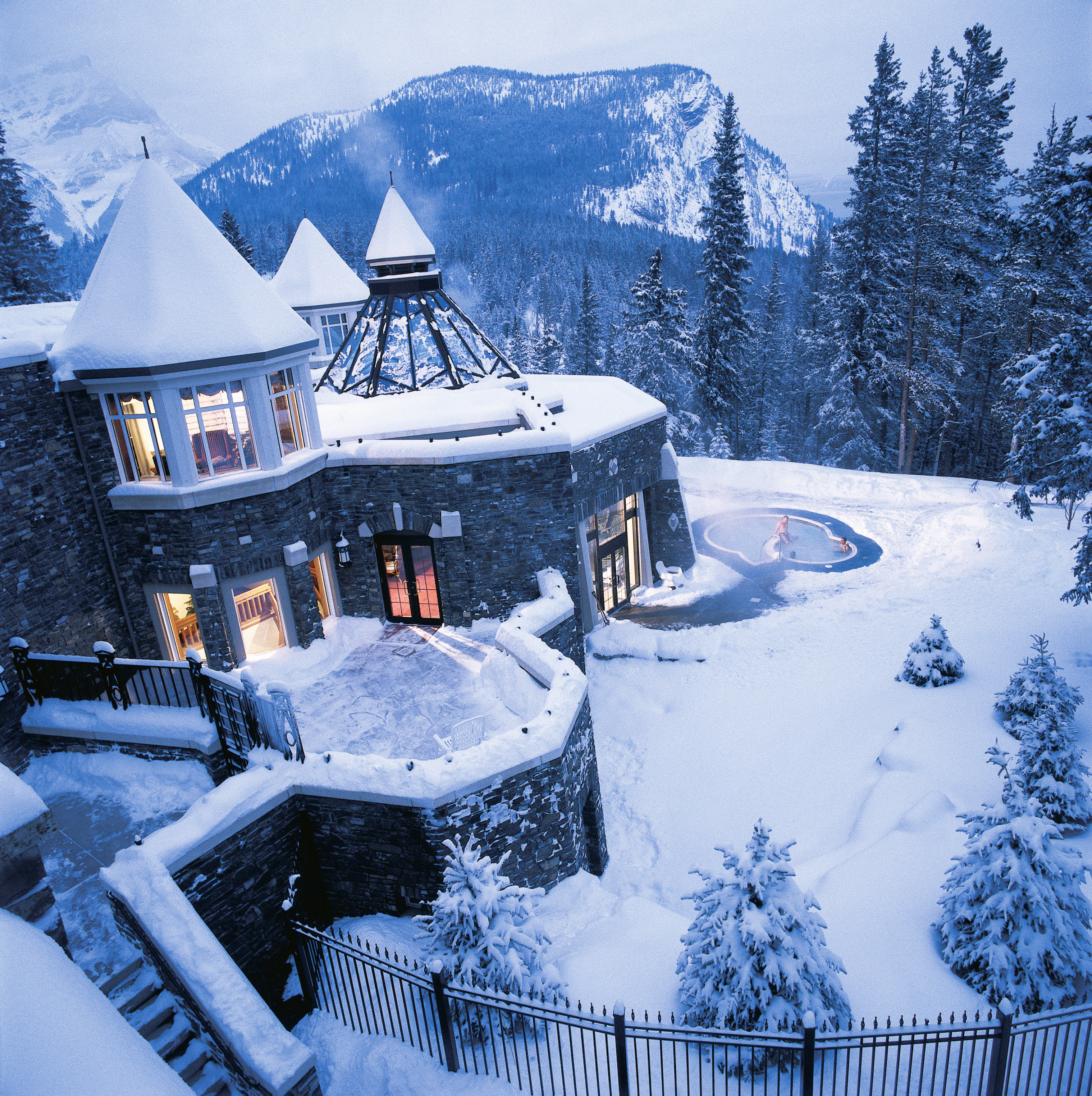 Architecture Buildings Exterior Health + Wellness Hotels Mountains Outdoors Resort Scenic views Spa Retreats Trip Ideas snow tree sky Winter Nature weather season mountain freezing blizzard