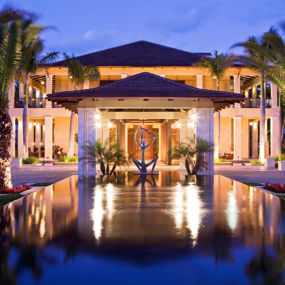 Architecture Buildings Exterior Luxury Resort tree property swimming pool mansion home Villa palace landscape lighting hacienda pond surrounded