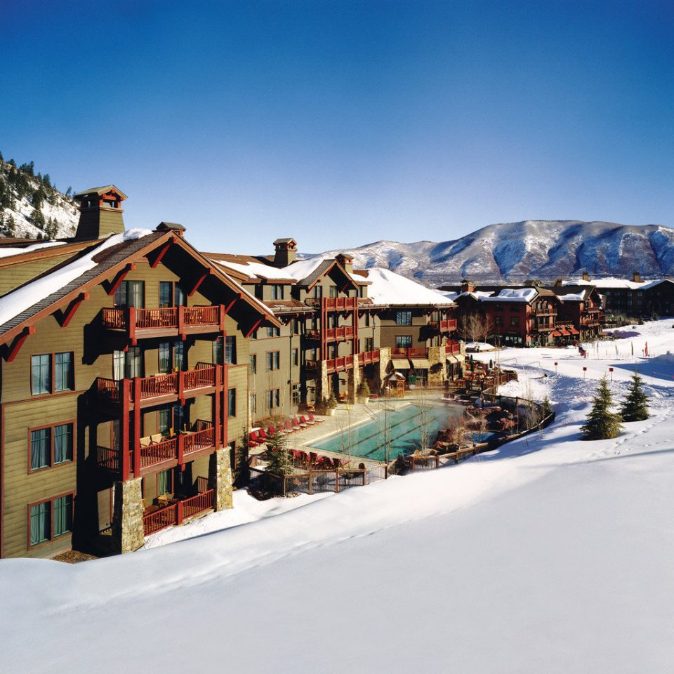 Architecture Buildings Exterior Luxury Mountains Resort Ski snow sky Winter Town weather mountain season Nature residential area mountain range