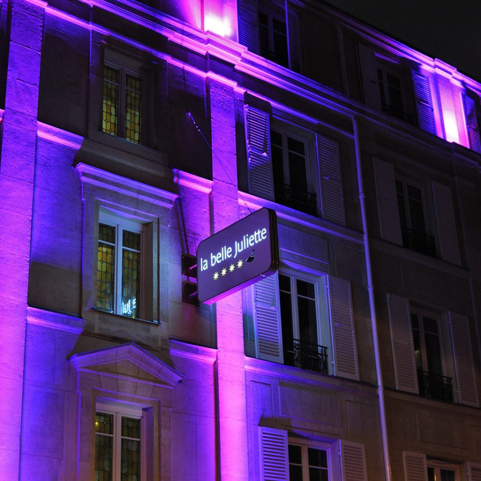Architecture Buildings Exterior Modern Purple Building Color Night Light  Street Darkness Lighting Metropolis Shape Neon Lit