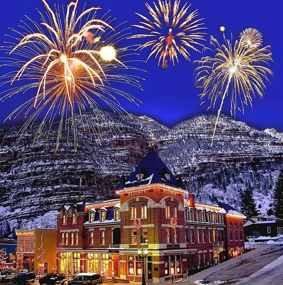 Architecture Buildings Exterior Mountains Nightlife Resort outdoor object fireworks event new year