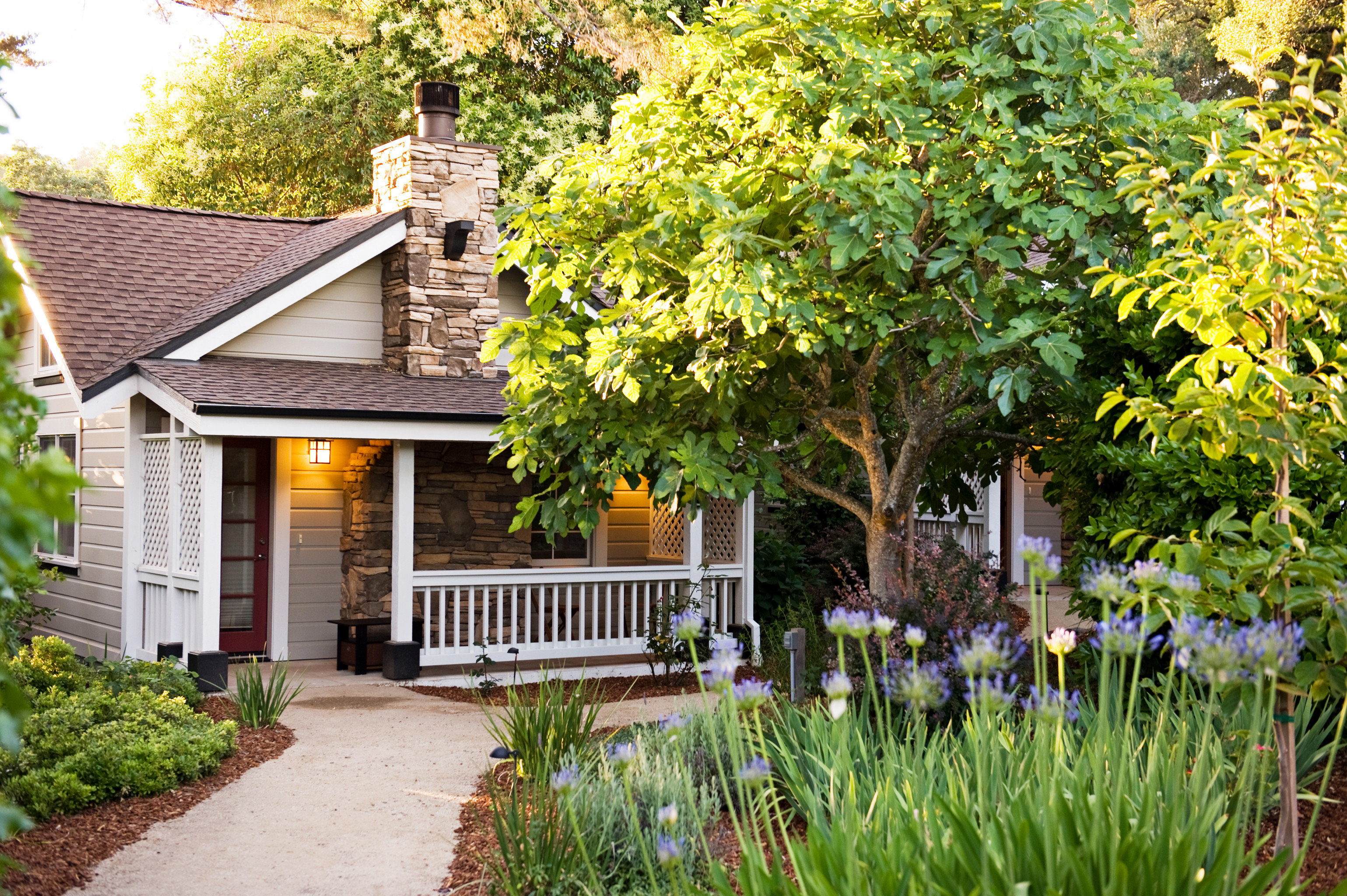 Architecture Buildings Grounds tree grass house property Garden yard flower home cottage residential area plant backyard lawn shrub bushes surrounded