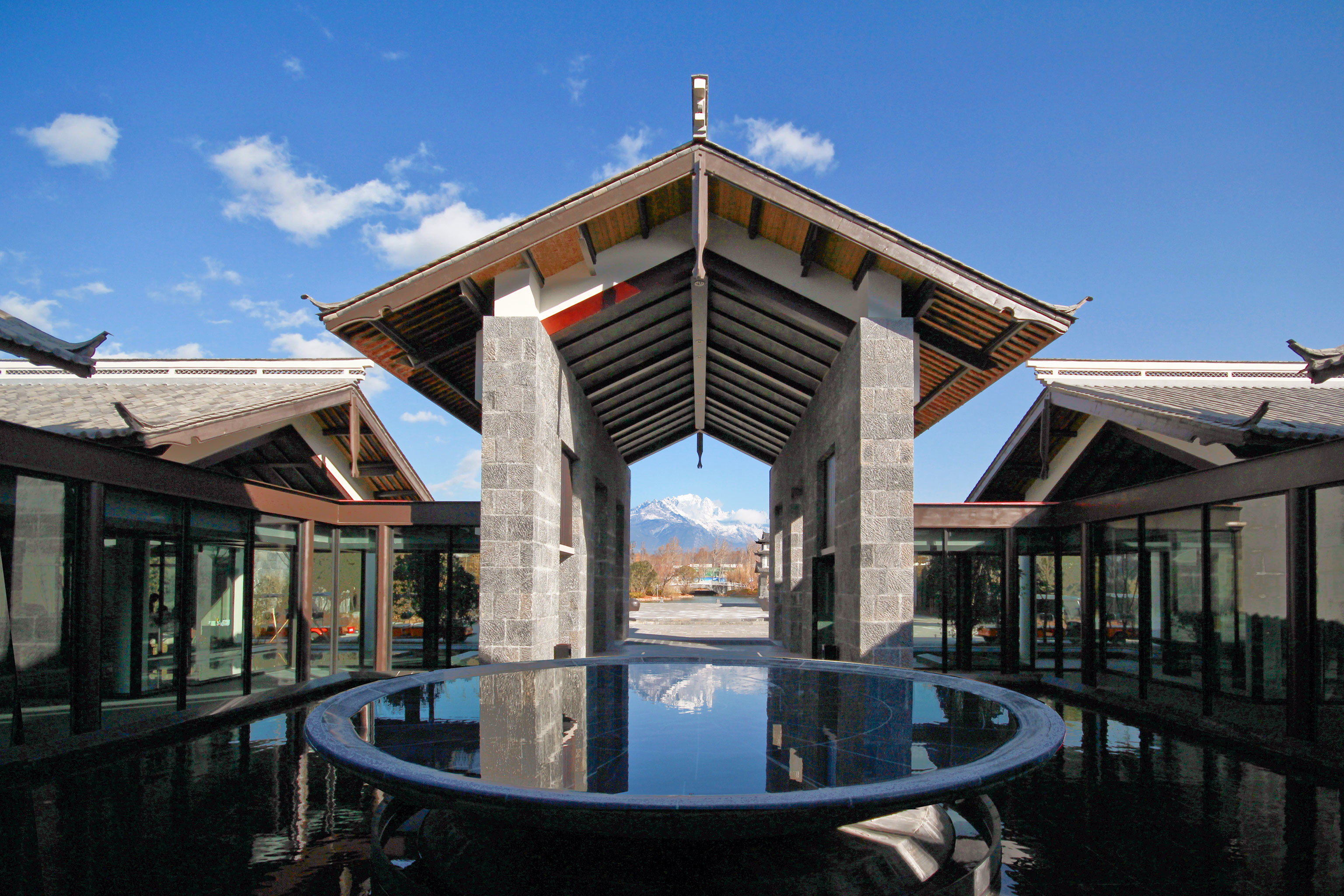 Architecture Buildings Mountains Resort Scenic views sky building property house home outdoor structure mansion old roof