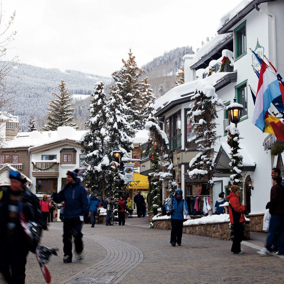 Architecture Buildings Shop Ski Town sky snow Winter Sport dancer