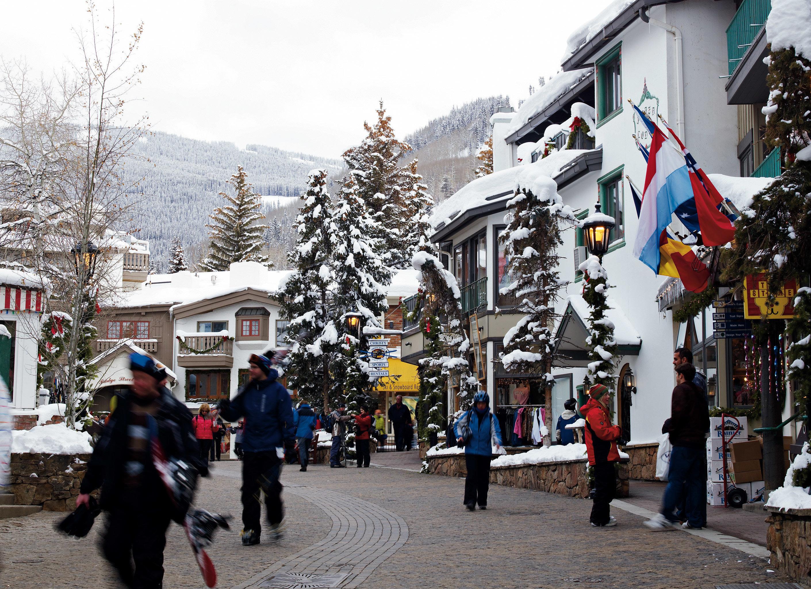Architecture Buildings Shop Ski Town sky snow Winter Sport dancer