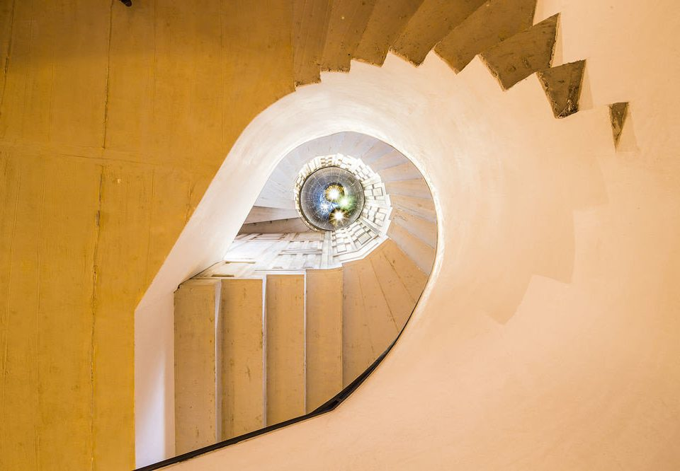 color white light Architecture ramp circle spiral shape stairs symmetry wing line half step stone