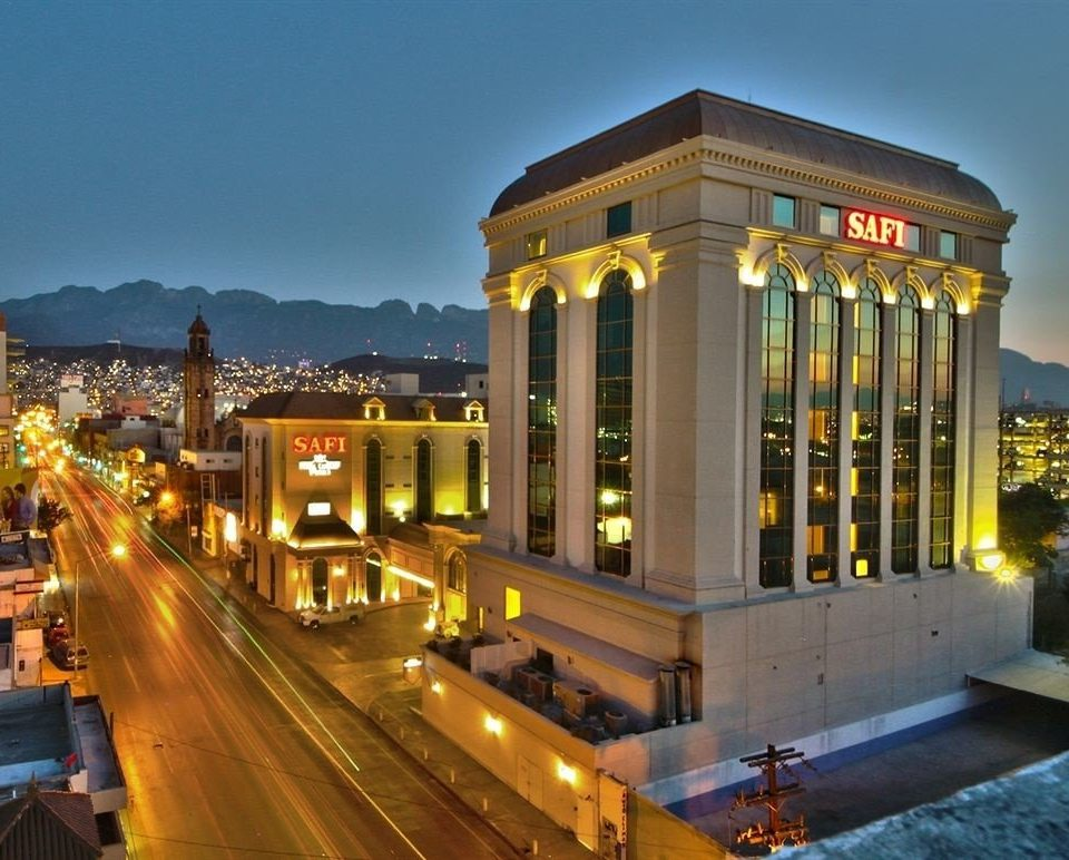 Classic Exterior sky landmark plaza building night Architecture Downtown metropolis City shopping mall cityscape convention center opera house