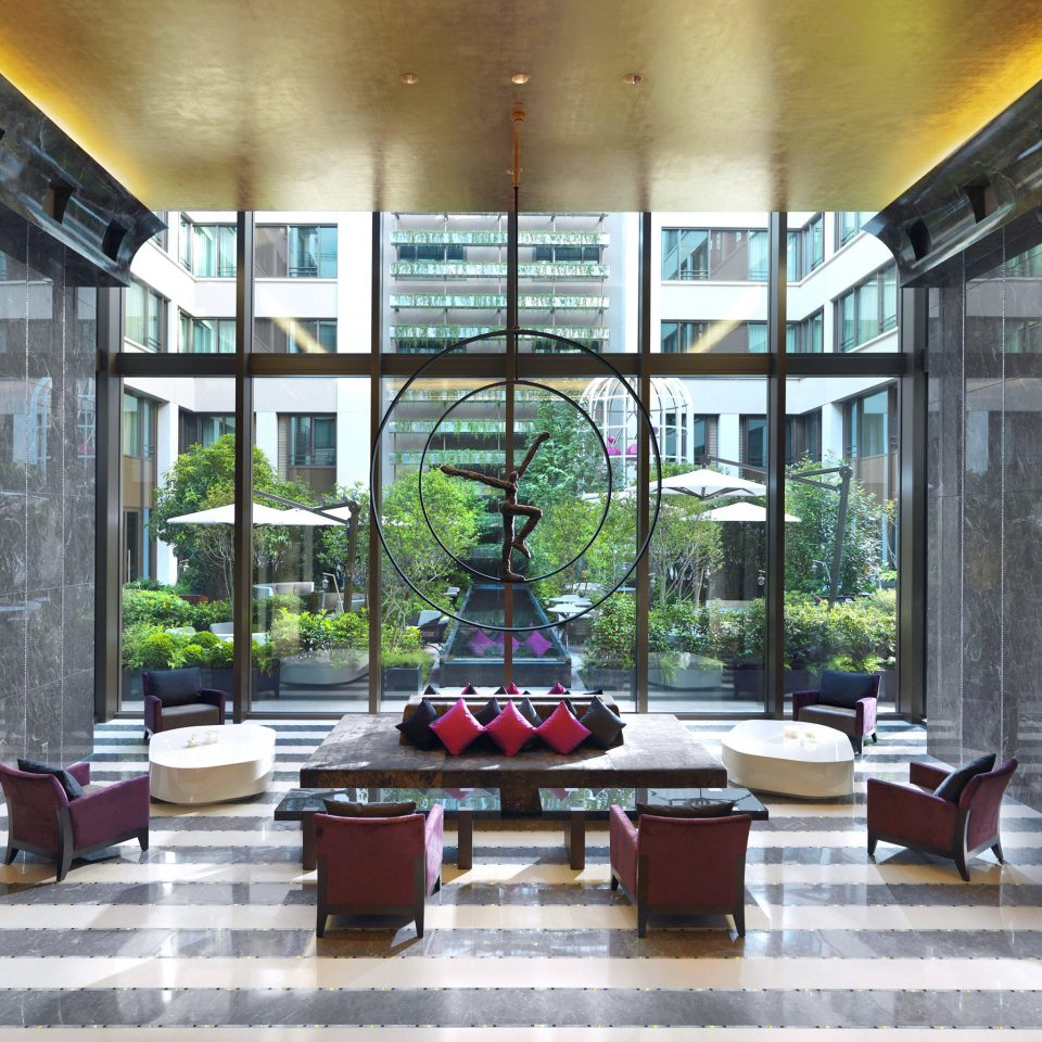 City Courtyard Lobby Luxury Modern building property Architecture home living room condominium restaurant stone
