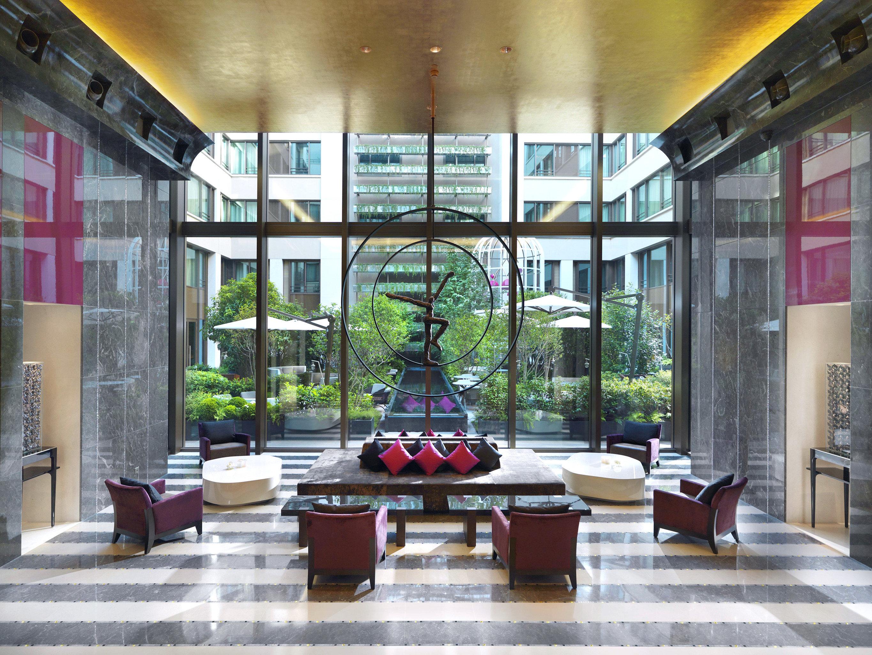 City Courtyard Lobby Luxury Modern building property Architecture home living room condominium restaurant stone