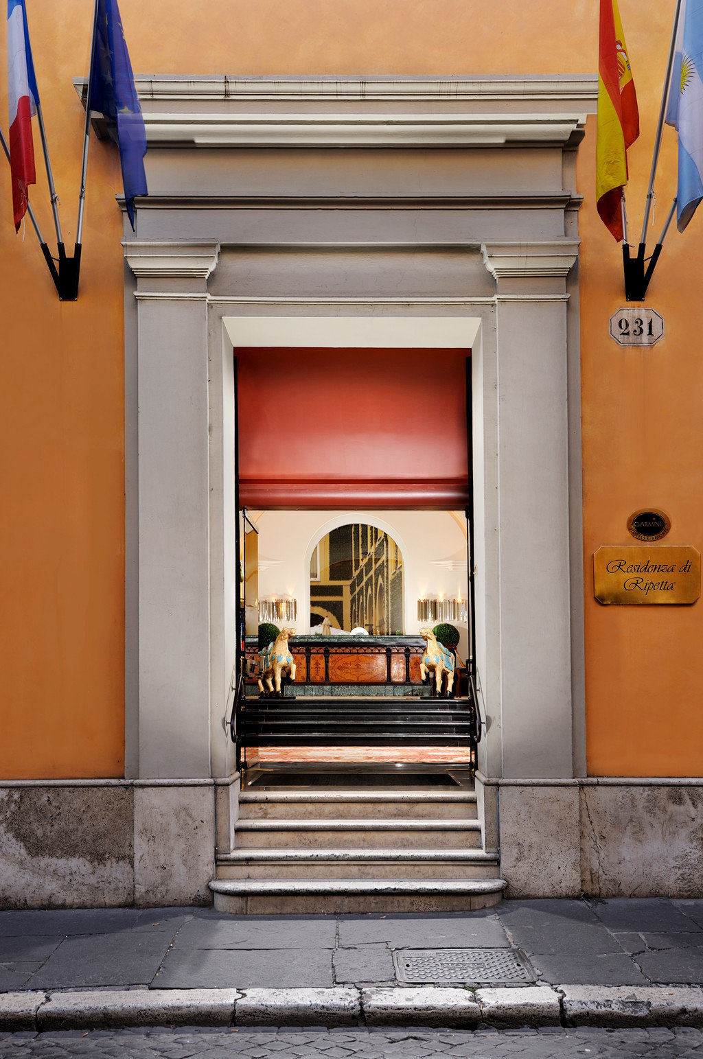 Classic Exterior Lobby building color red road Architecture street door sidewalk home