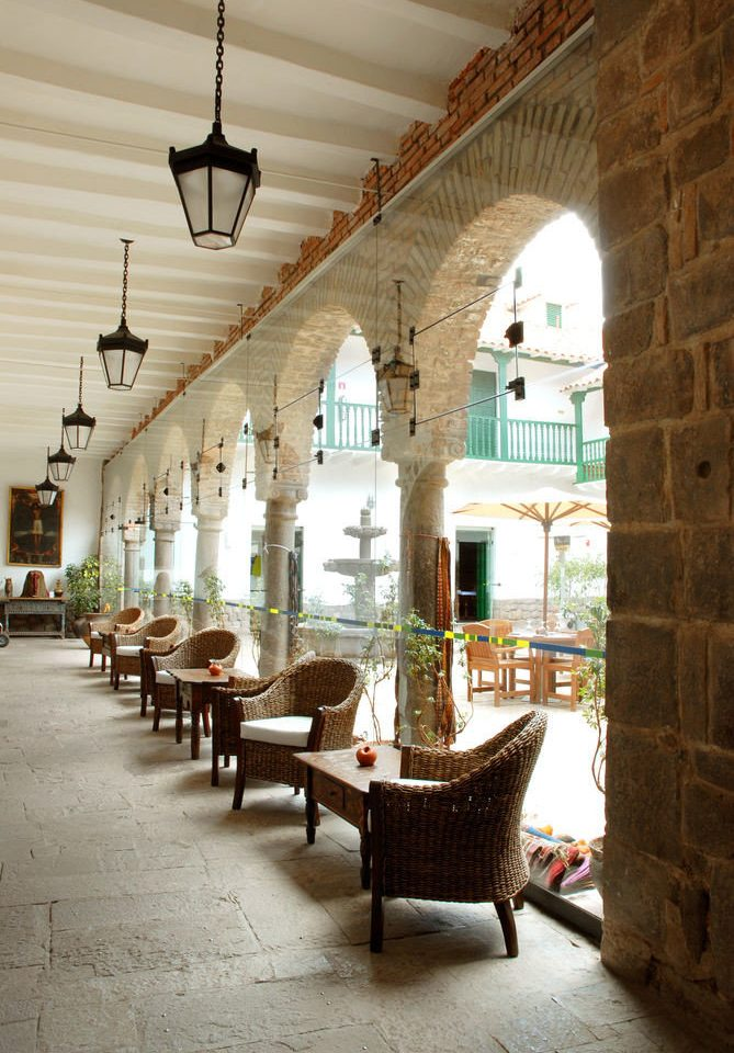 building Architecture house lighting arch palace ancient history hacienda restaurant living room Courtyard stone colonnade