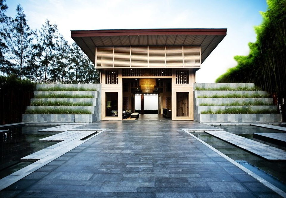 sky tree ground building house Architecture home wooden professional mansion Courtyard tourist attraction concrete stone walkway