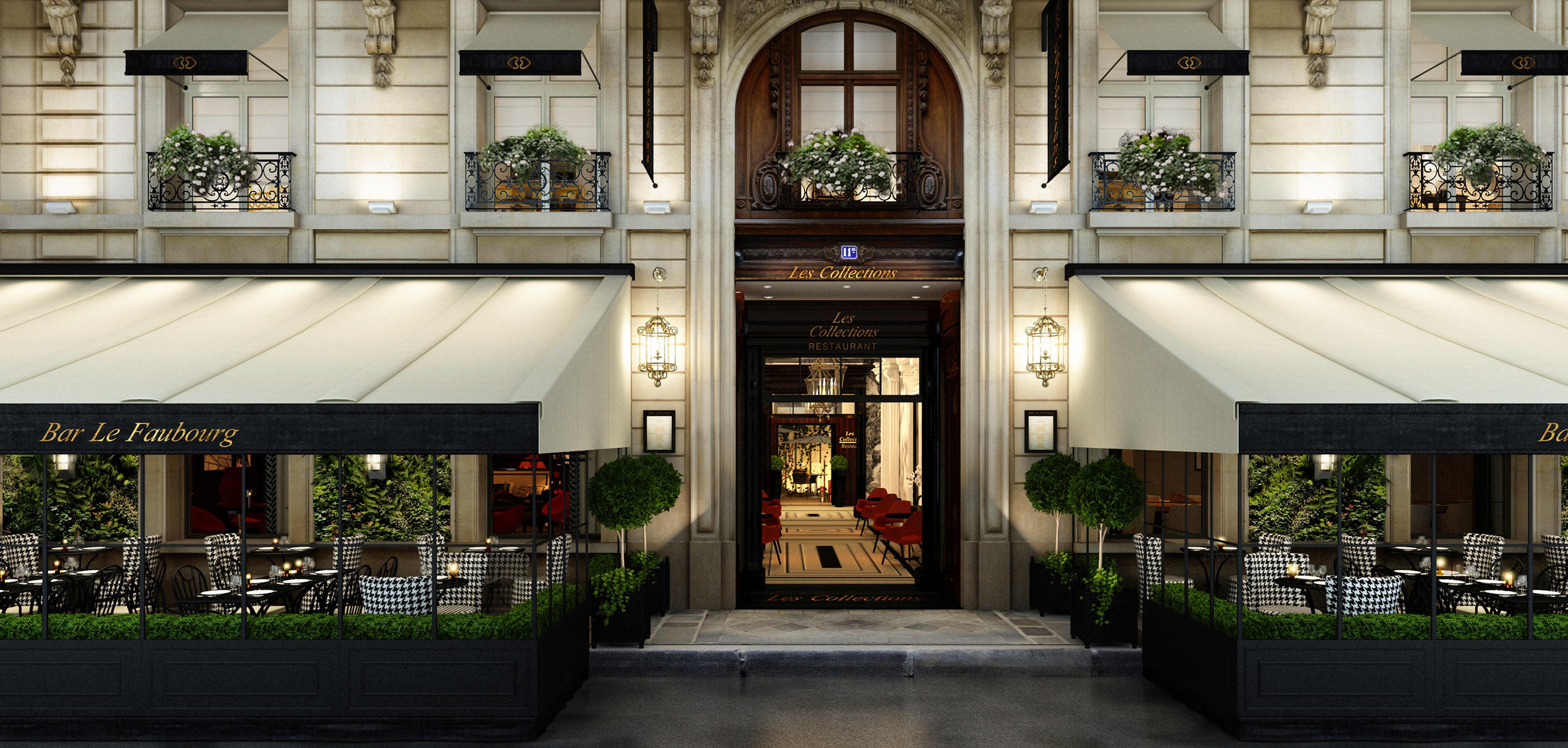 Elegant Exterior Luxury Modern Architecture restaurant lighting Lobby Courtyard stone