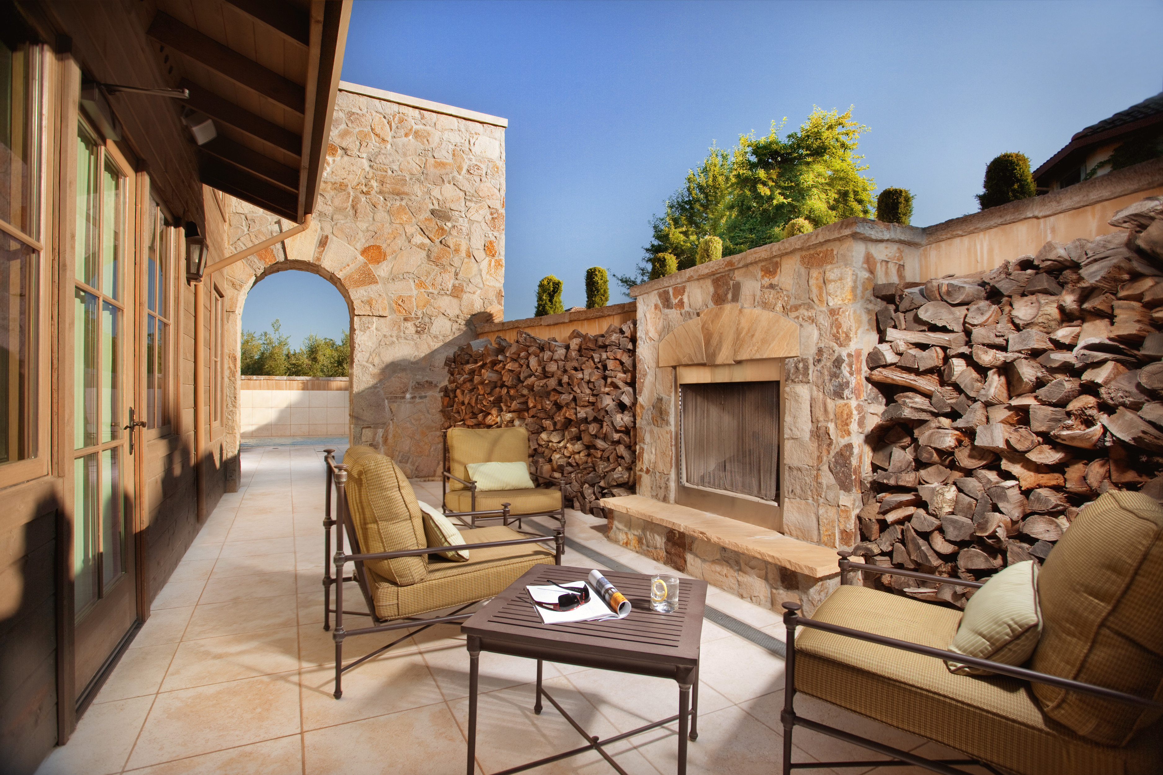 Lounge Luxury Fireplace property stone house Architecture home Courtyard brick Villa ancient history living room