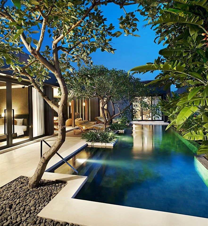 tree leisure swimming pool Courtyard Architecture home reflecting pool backyard mansion Garden plaza Resort walkway