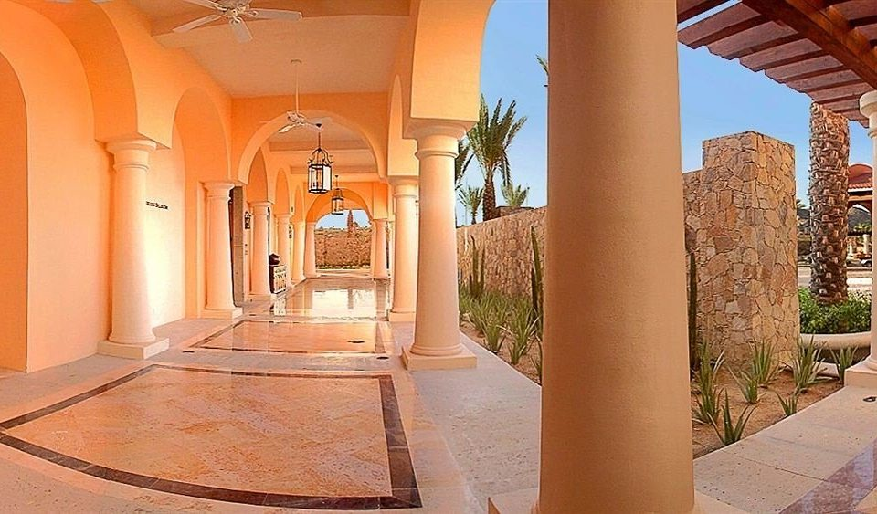 building property Lobby Architecture house home mansion arch hacienda Courtyard Villa column orange colonnade