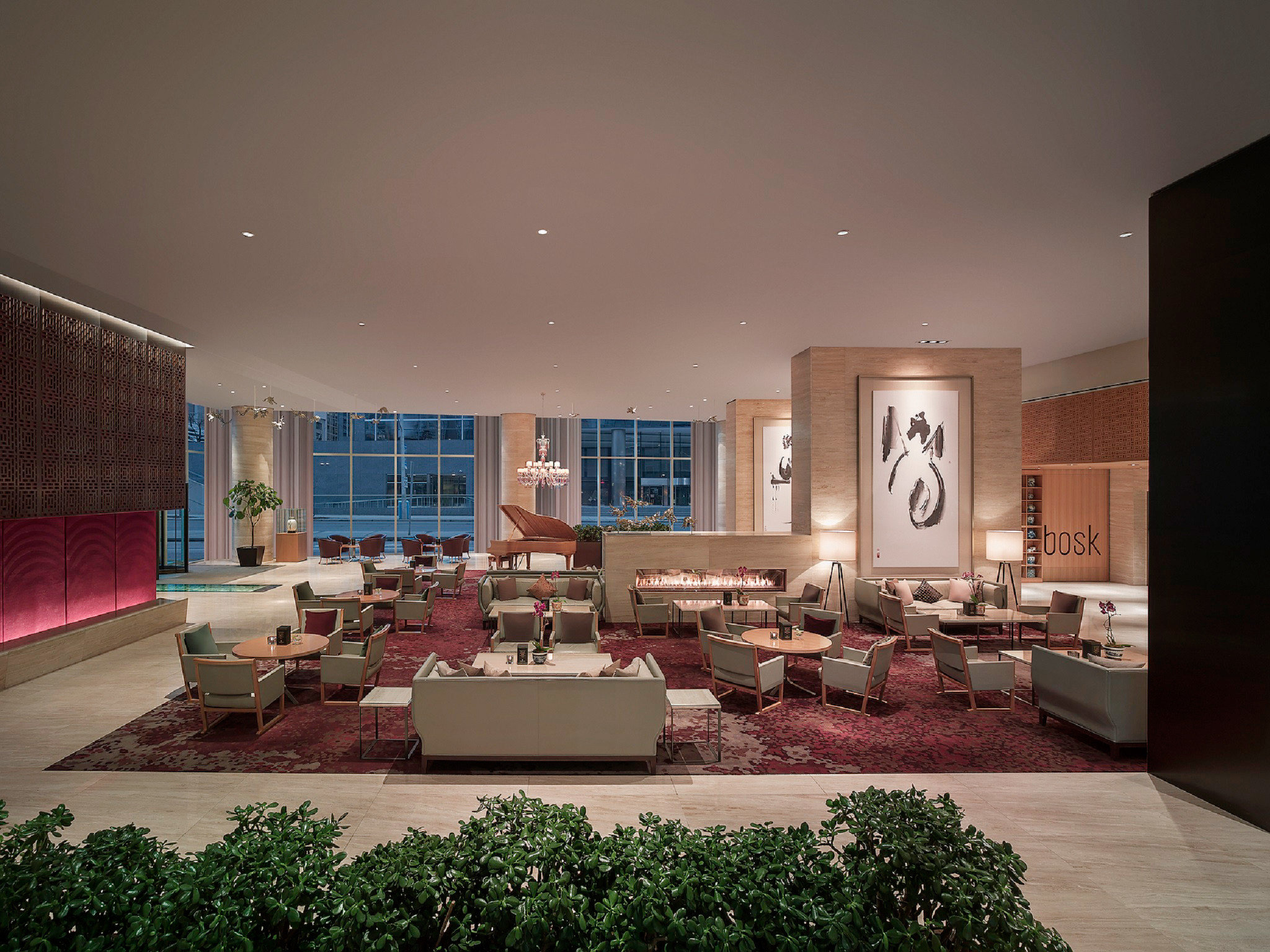 Dining Drink Eat Hip Modern Scenic views Lobby Architecture house home living room lighting mansion tourist attraction