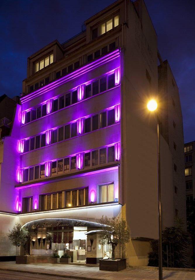 building night landmark Architecture house tower block Downtown purple evening metropolis condominium shape tall