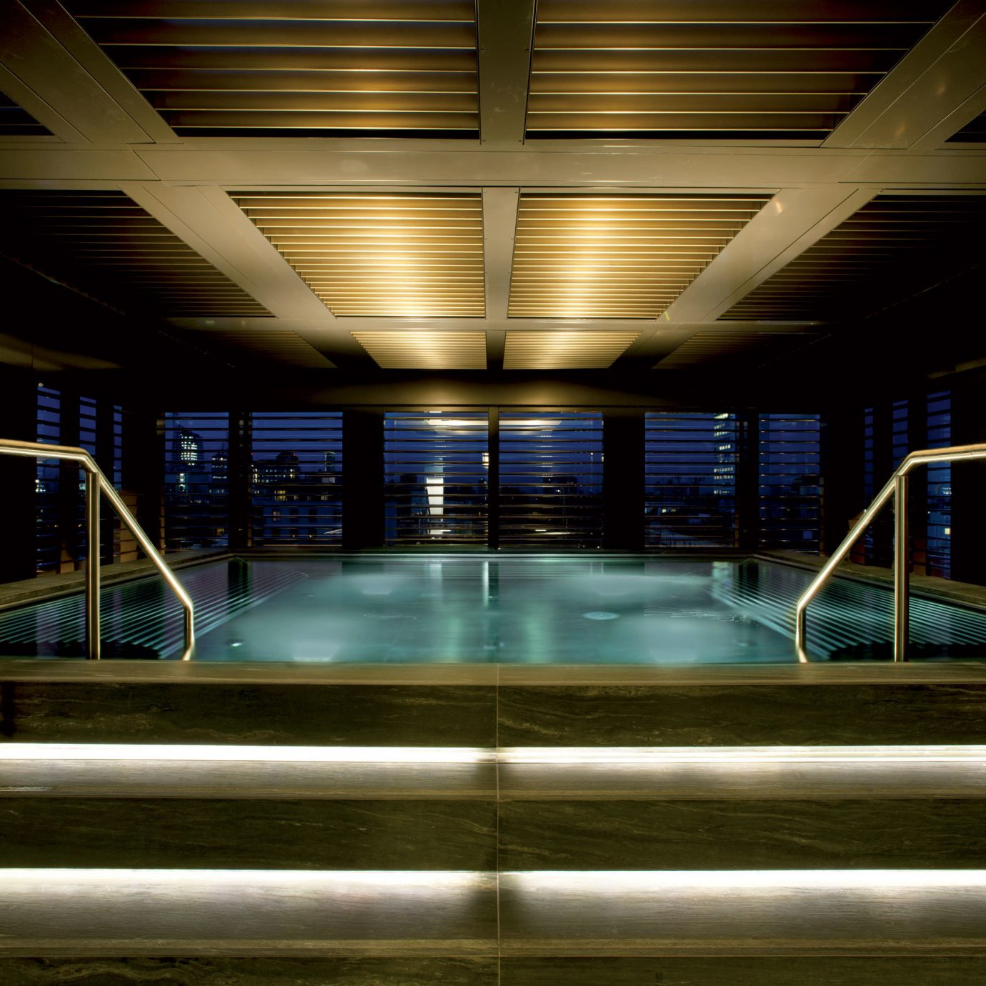 Elegant Hotels Italy Luxury Milan Pool Scenic views night light Architecture swimming pool lighting subway