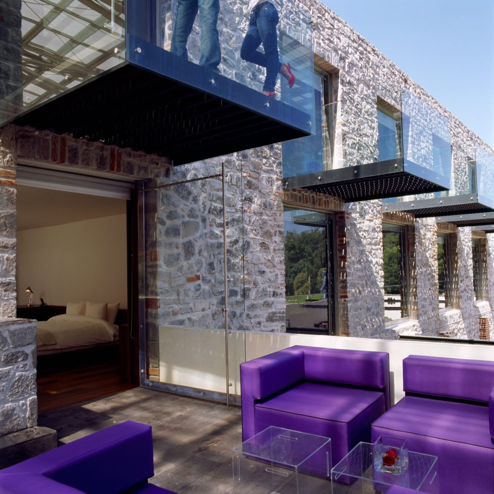 Exterior Lounge Luxury Modern property house purple Architecture home backyard cottage outdoor structure Villa living room porch swimming pool stone