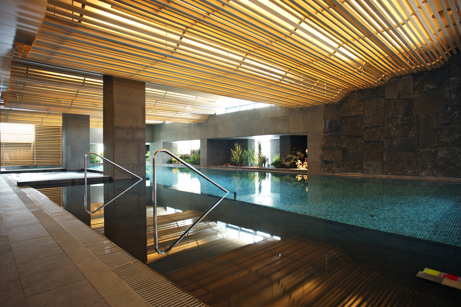 Fitness Luxury Modern Pool building swimming pool platform Architecture subway walkway