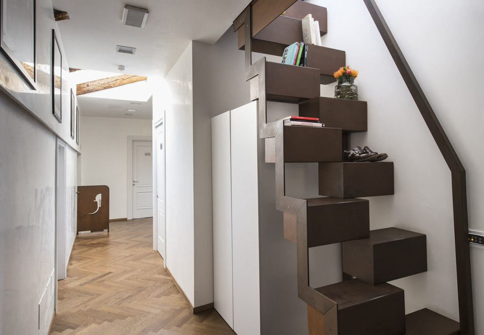 property stairs house Architecture home flooring loft living room hall