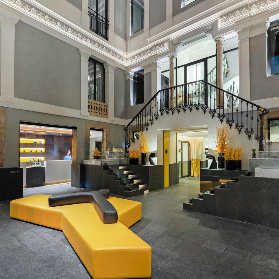 Hip Lobby Lounge Modern building property yellow condominium home Architecture living room mansion