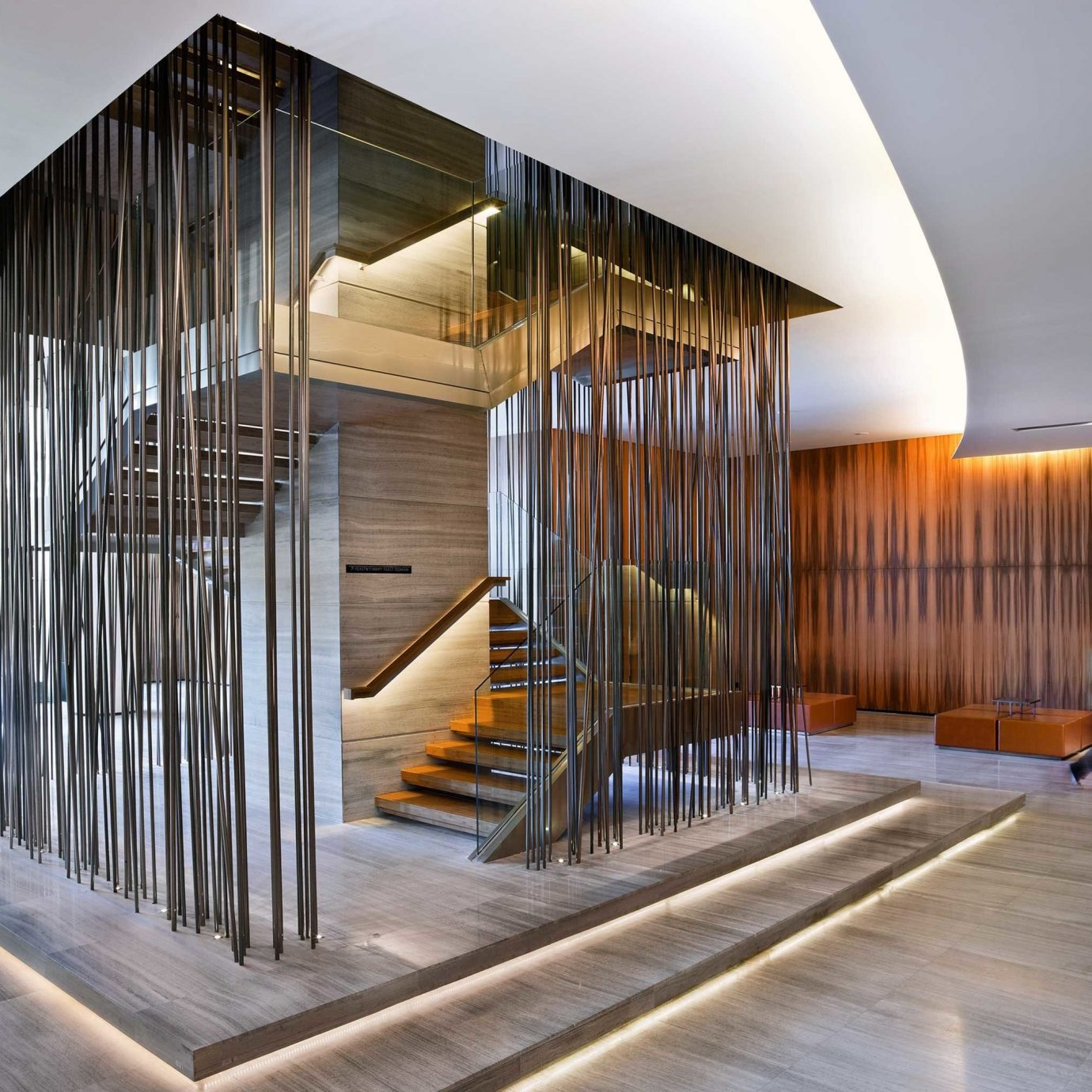 Hip Lobby Luxury Modern house stairs building Architecture professional daylighting home handrail headquarters