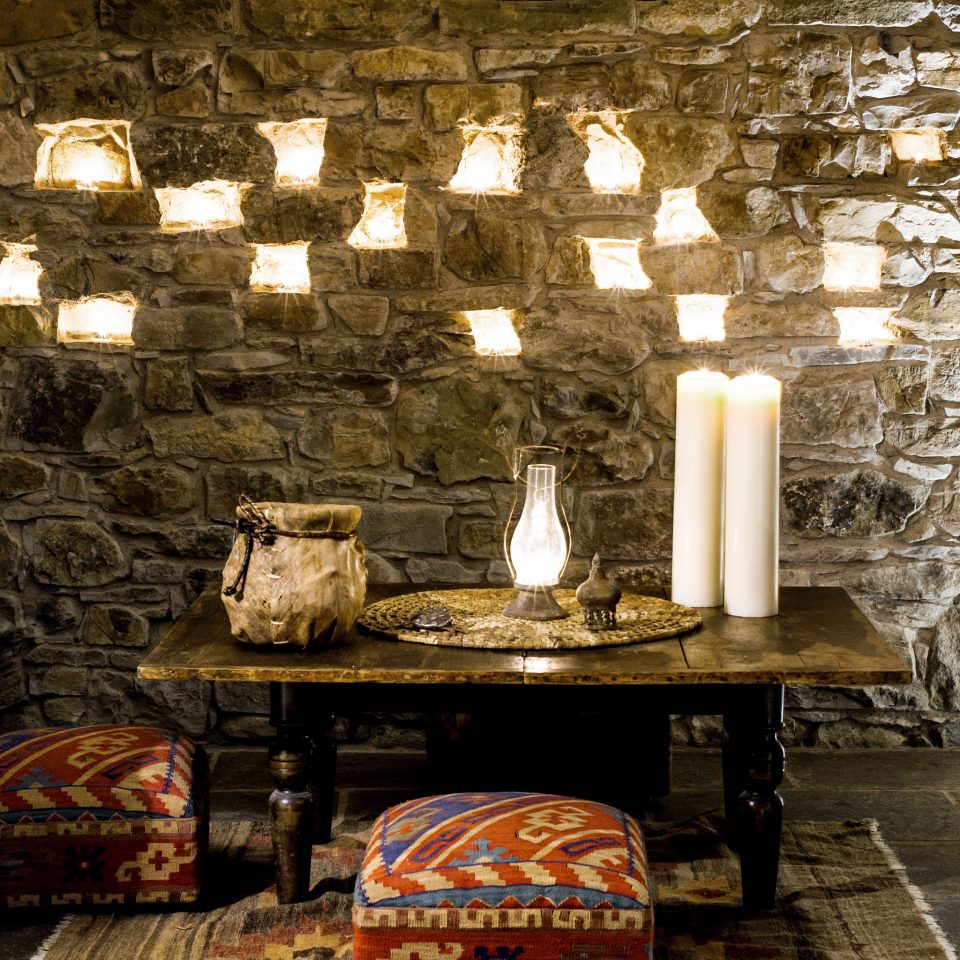 Architecture Historic Honeymoon Lounge Romance Romantic Rustic Wellness house home lighting ancient history log cabin living room cottage stone