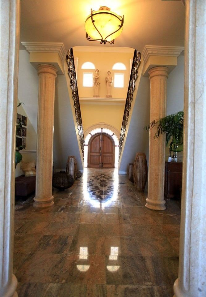 property building house home mansion Architecture Lobby arch column hall flooring living room hacienda cottage