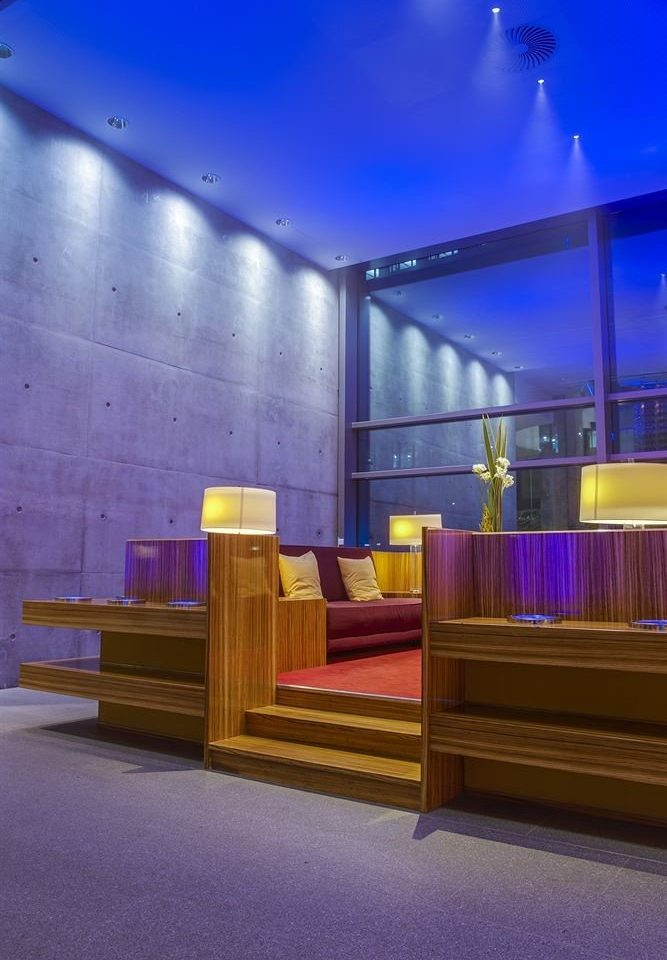 Lobby Architecture auditorium lighting stage theatre screenshot living room convention center purple colored