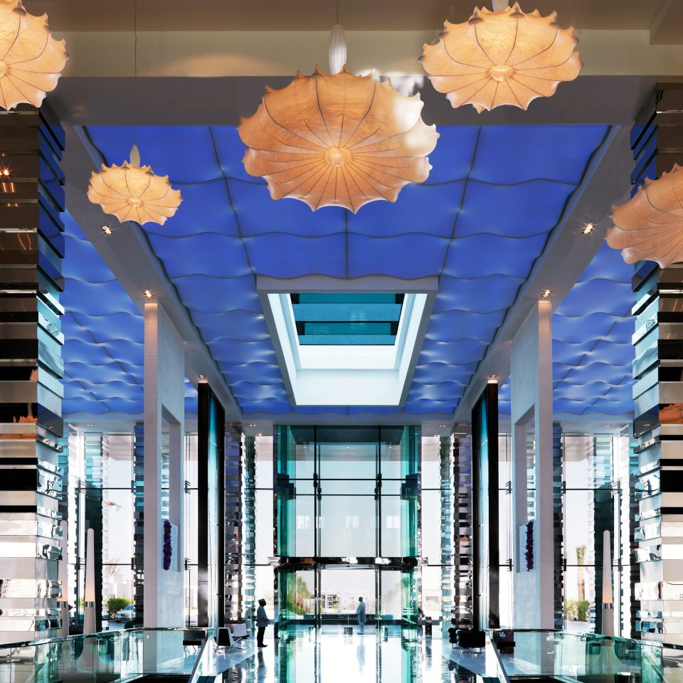 building Architecture Lobby plaza headquarters condominium blue shopping mall