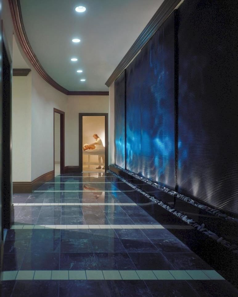 building blue light Architecture lighting hall Lobby tiled