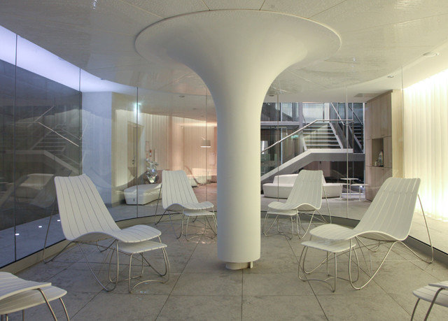 chair property building Architecture Lobby living room condominium daylighting headquarters