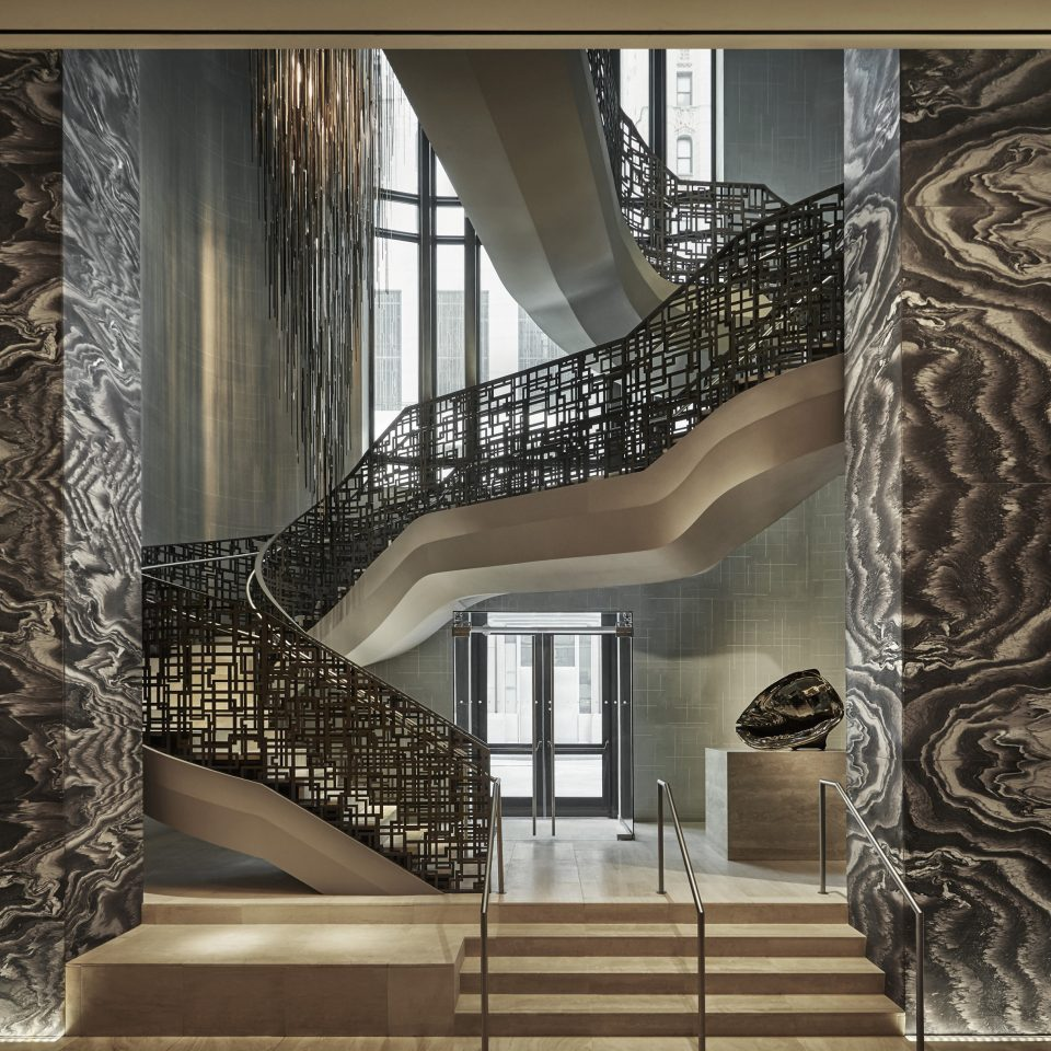 modern art Architecture stairs flooring Lobby mansion living room wallpaper curtain
