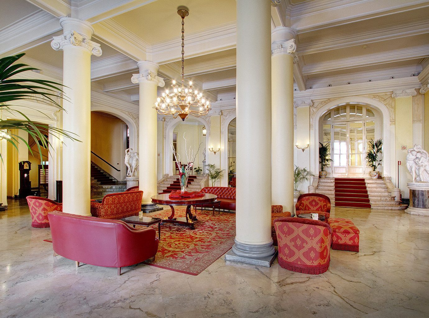Architecture Lobby Lounge Resort property red building palace mansion aisle home hall ballroom living room hacienda flooring