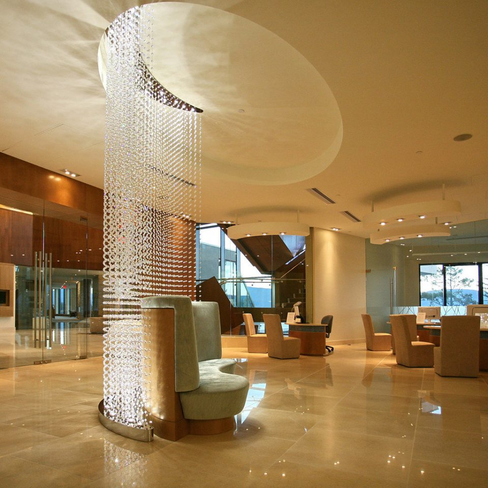 Lobby Mountains Resort Spa Wellness property Architecture lighting living room convention center