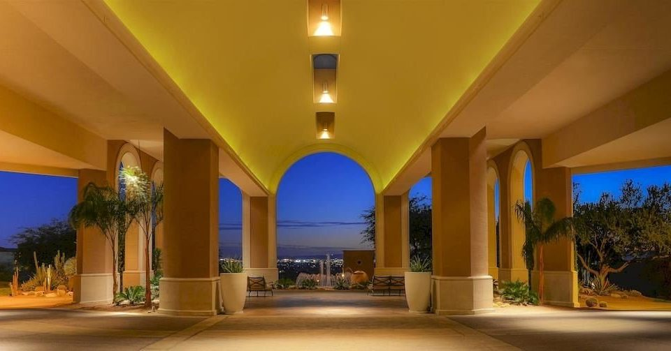 property yellow building Lobby Resort Architecture home mansion hacienda Villa convention center palace painted bright colonnade
