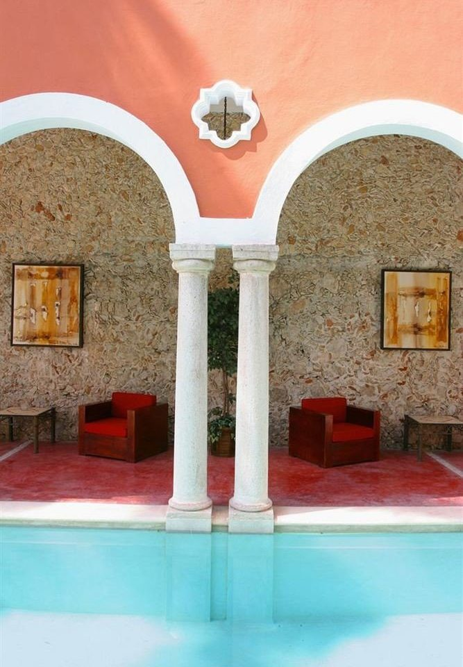 Luxury Modern Pool color red Architecture arch hacienda mansion stone colored