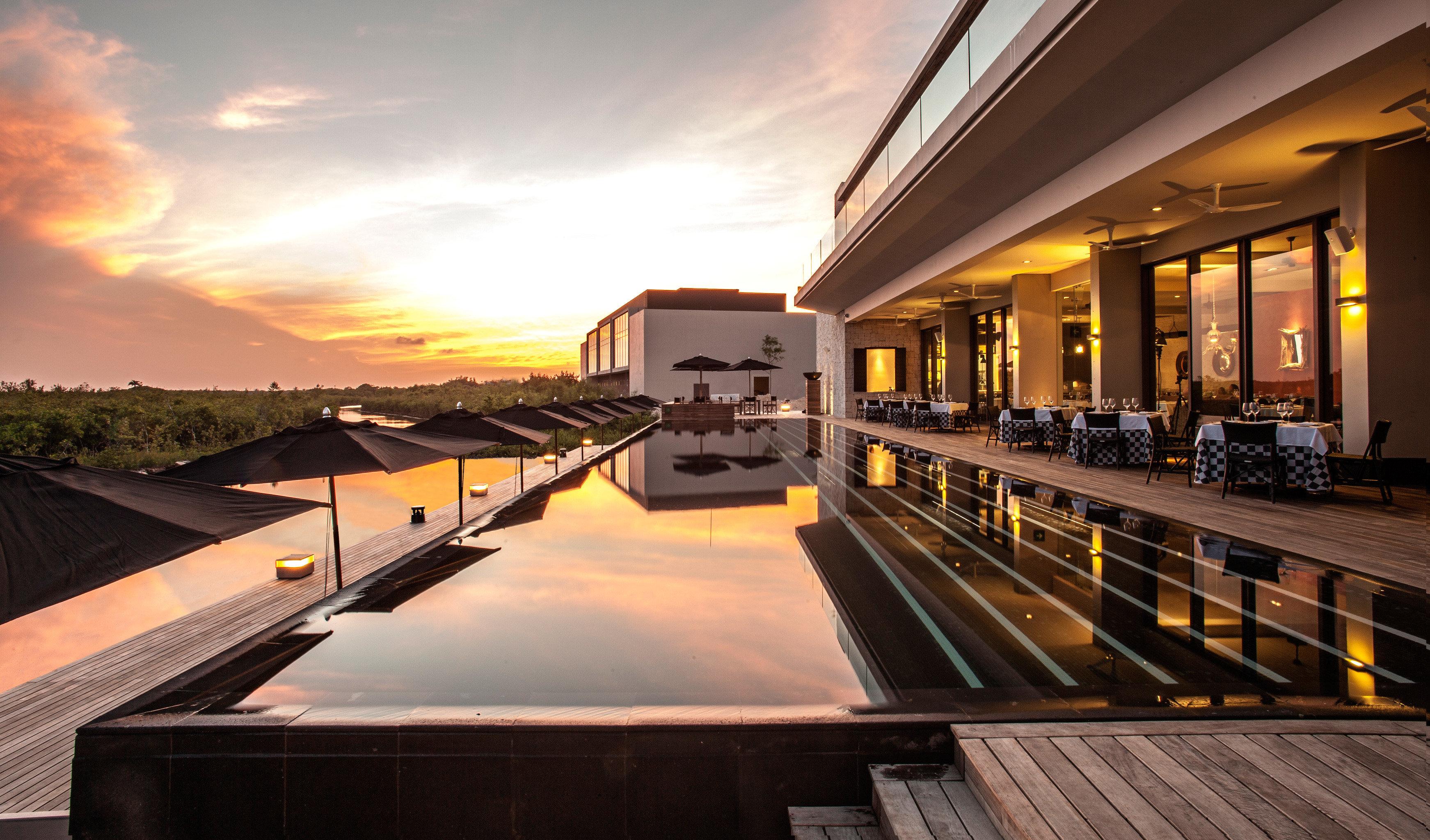 Luxury Modern Pool Romance Romantic Scenic views Sunset sky night light Architecture evening lighting dusk