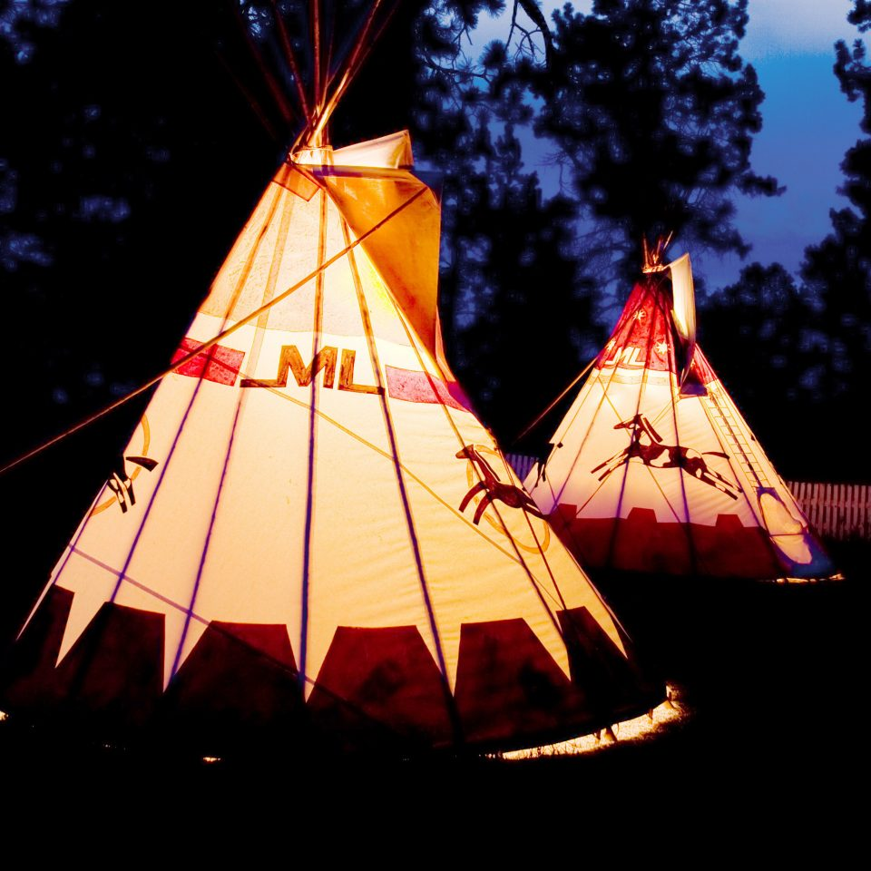 Architecture Nightlife Ranch tepee building tree night dome light dark