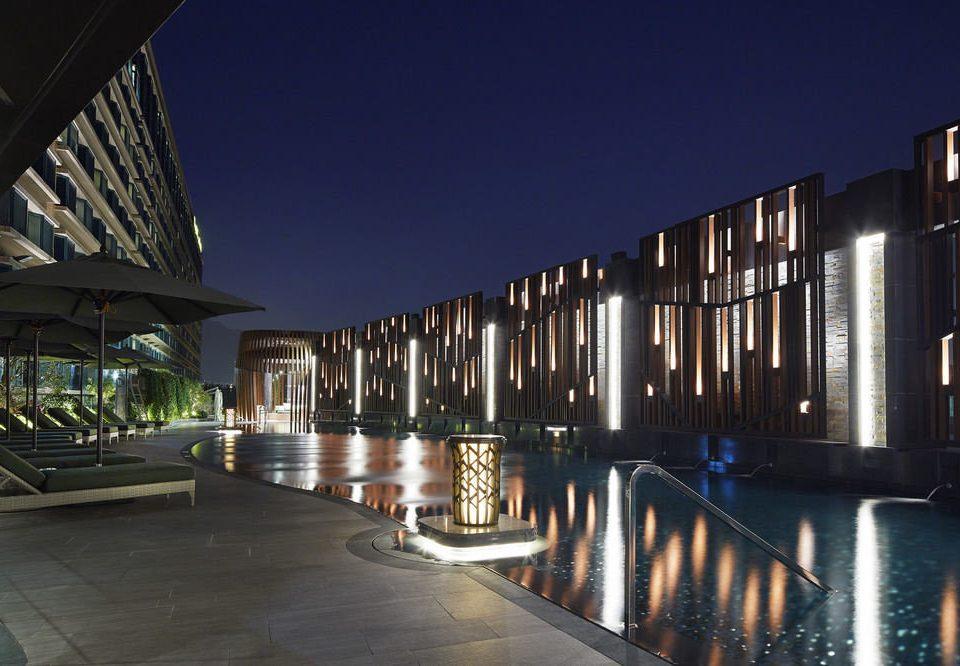 night Architecture house condominium bridge Resort headquarters walkway
