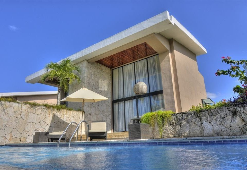 building sky property house Architecture Villa home mansion stone concrete Resort cement