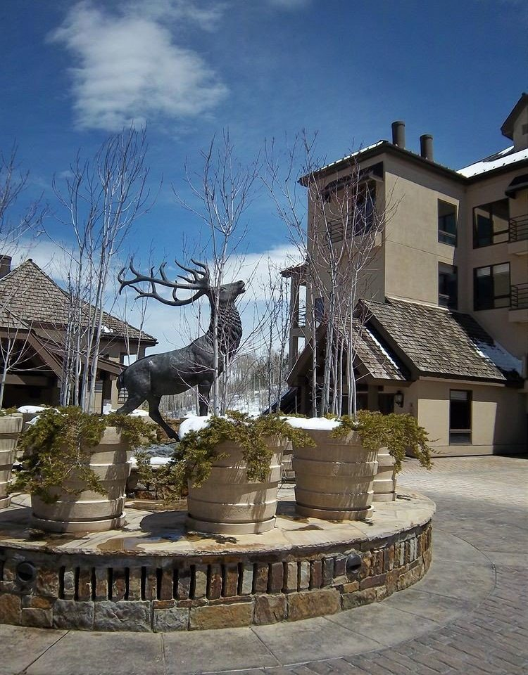 sky snow tree landmark Town Winter house Architecture town square water feature fountain ancient history stone