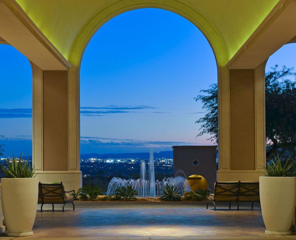 building property house Architecture home arch Villa condominium swimming pool hacienda overlooking colonnade