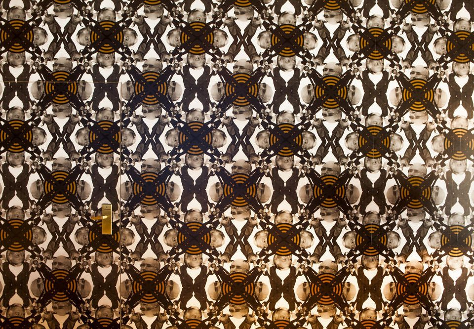 brown pattern outdoor object group art flooring circle symmetry line wallpaper mosaic tile different bunch lined arranged