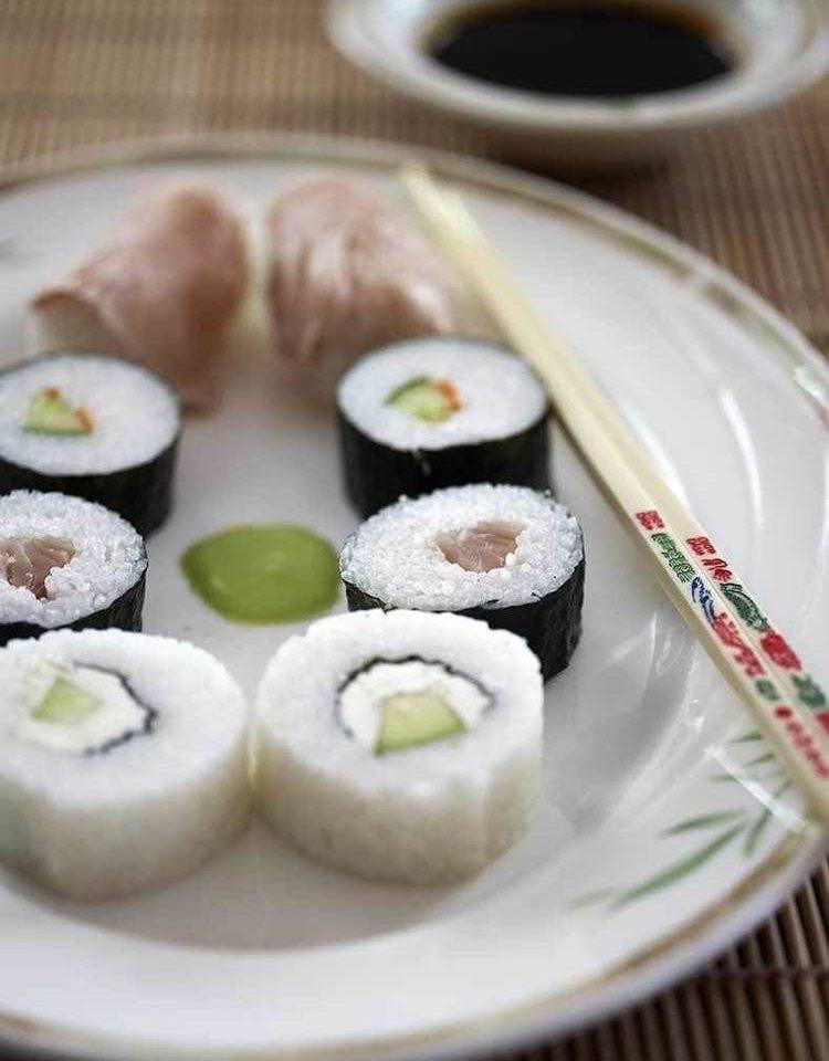 plate food sushi cup cuisine gimbap asian food chinese food california roll dim sum chocolate arranged