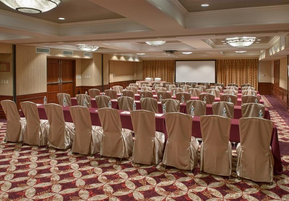 function hall auditorium banquet conference hall ballroom meeting convention center long event convention lined line colored arranged
