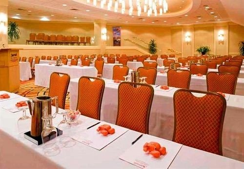 function hall banquet orange restaurant conference hall ballroom arranged