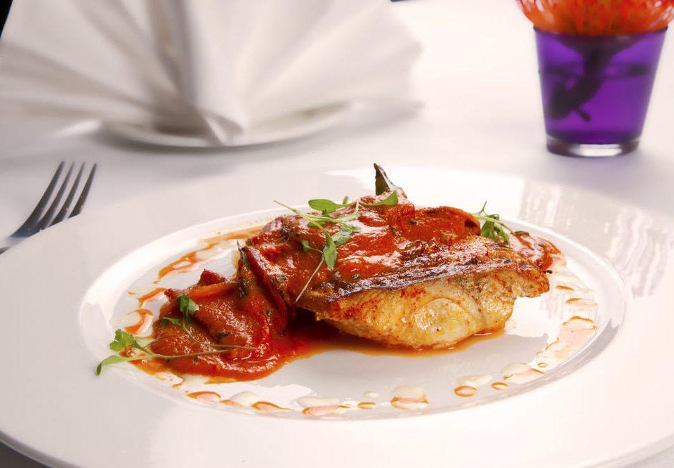 plate food white cuisine meat fork spaghetti vegetable breakfast arranged piece de resistance